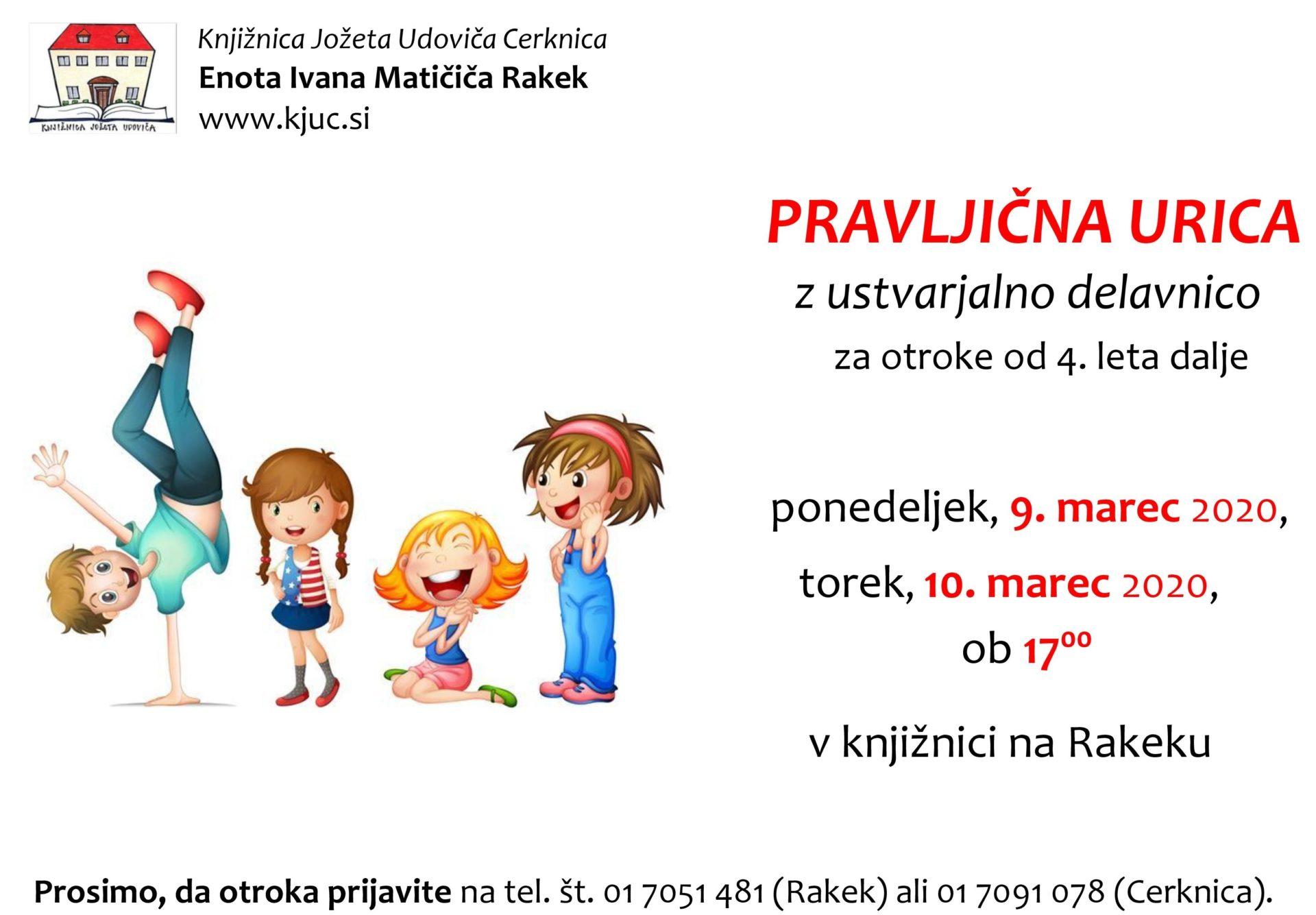 cover 5 - ODPOVEDANO - Pravljična urica z ustvarjalno delavnico za otroke od 4. leta dalje – Rakek