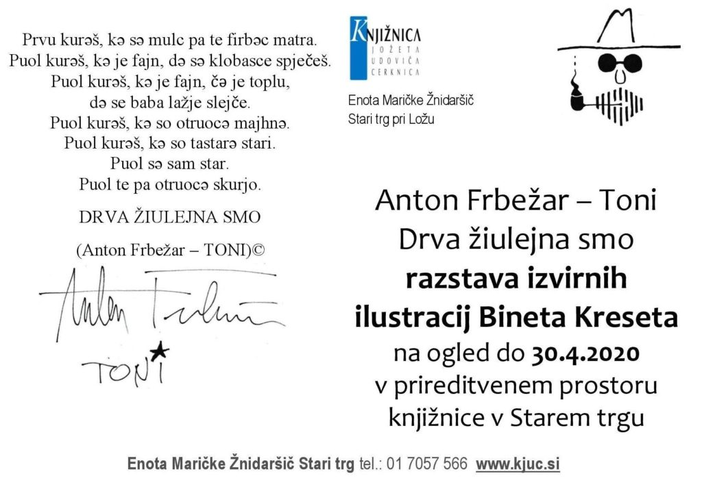Frbežar Toni. razstava page 001 1024x714 - Razstava izvirnih ilustracij Bineta Kreseta