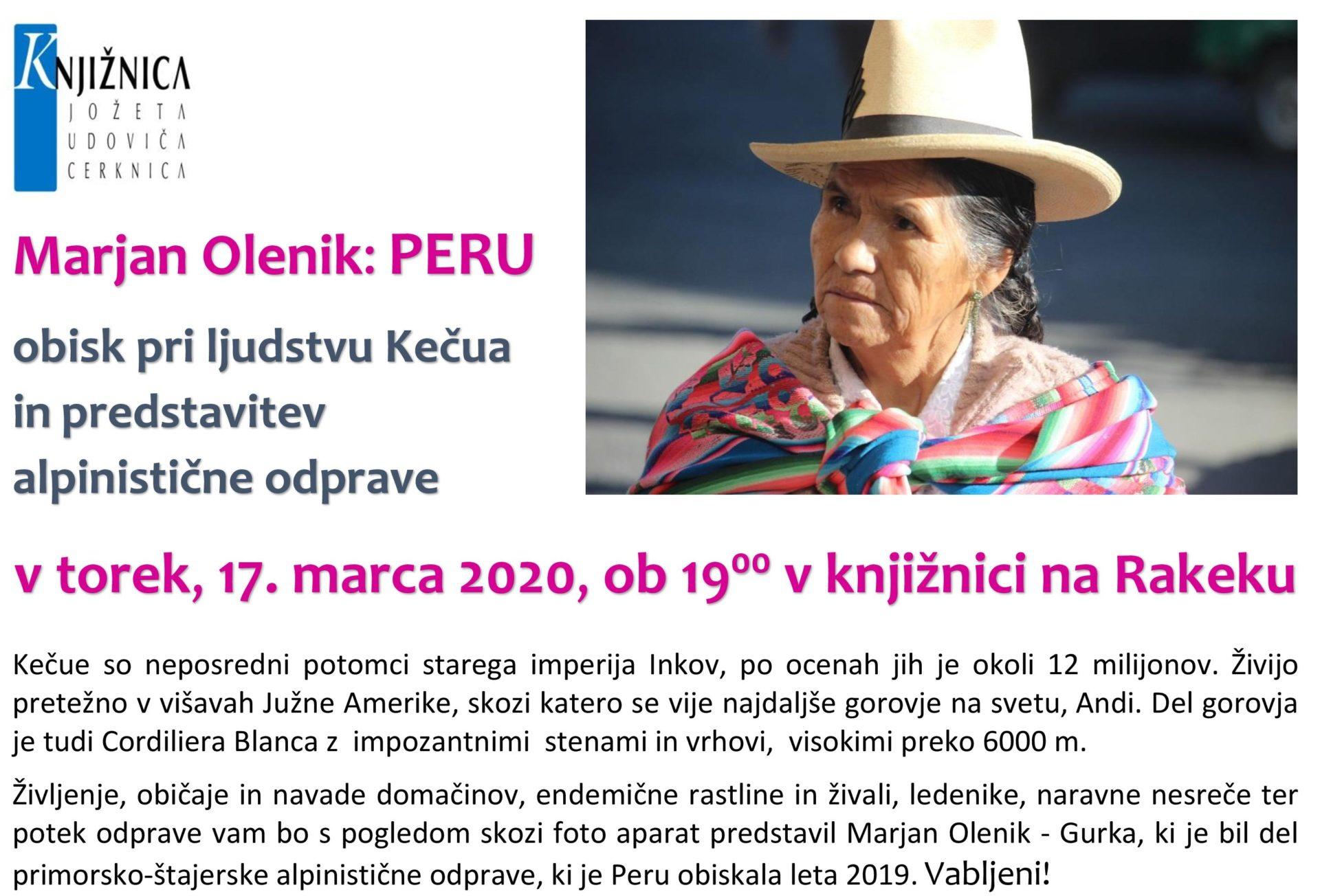 cover 1 - ODPOVEDANO – Marjan Olenik - Peru: obisk pri ljudstvu Kečua in predstavitev alpinistične odprave