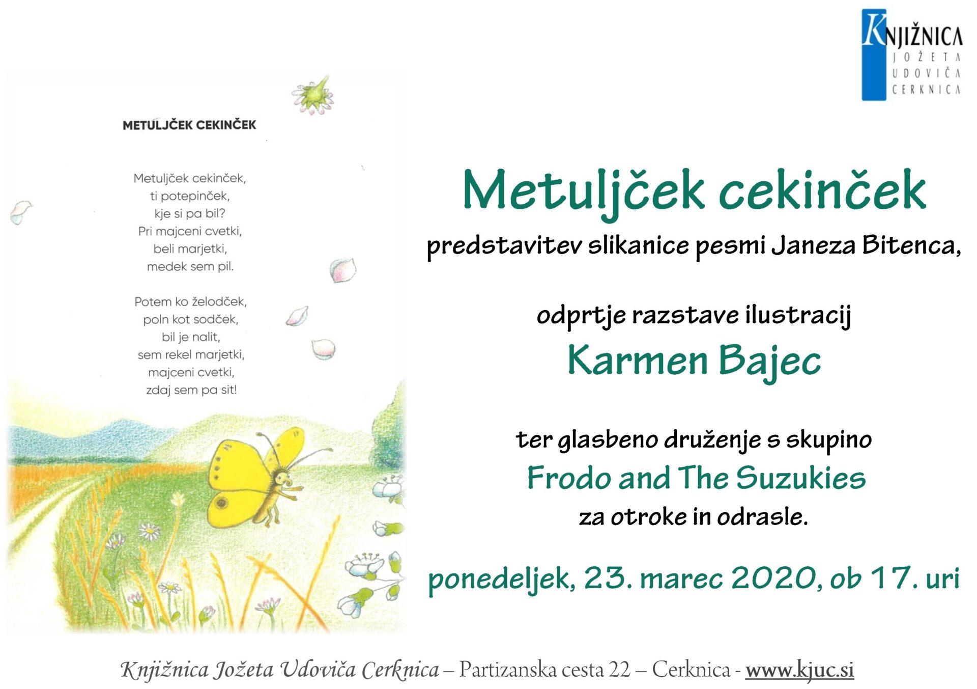 cover - ODPOVEDANO – Metuljček cekinček – predstavitev slikanice pesmi Janeza Bitenca z ilustracijami Karmen Bajec