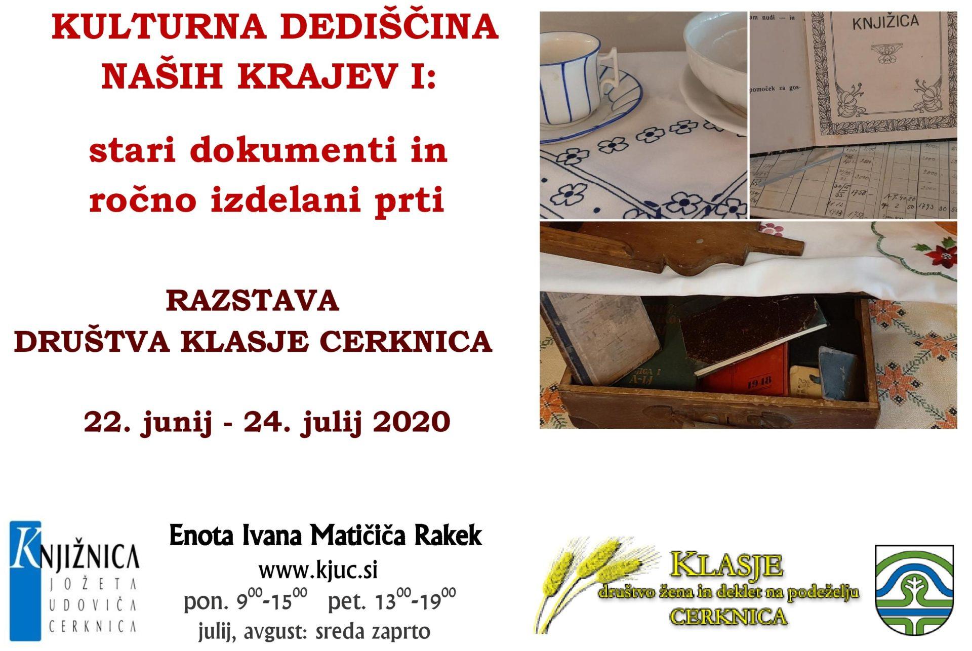 cover 2 - Kulturna dediščina naših krajev I - razstava društva Klasje Cerknica