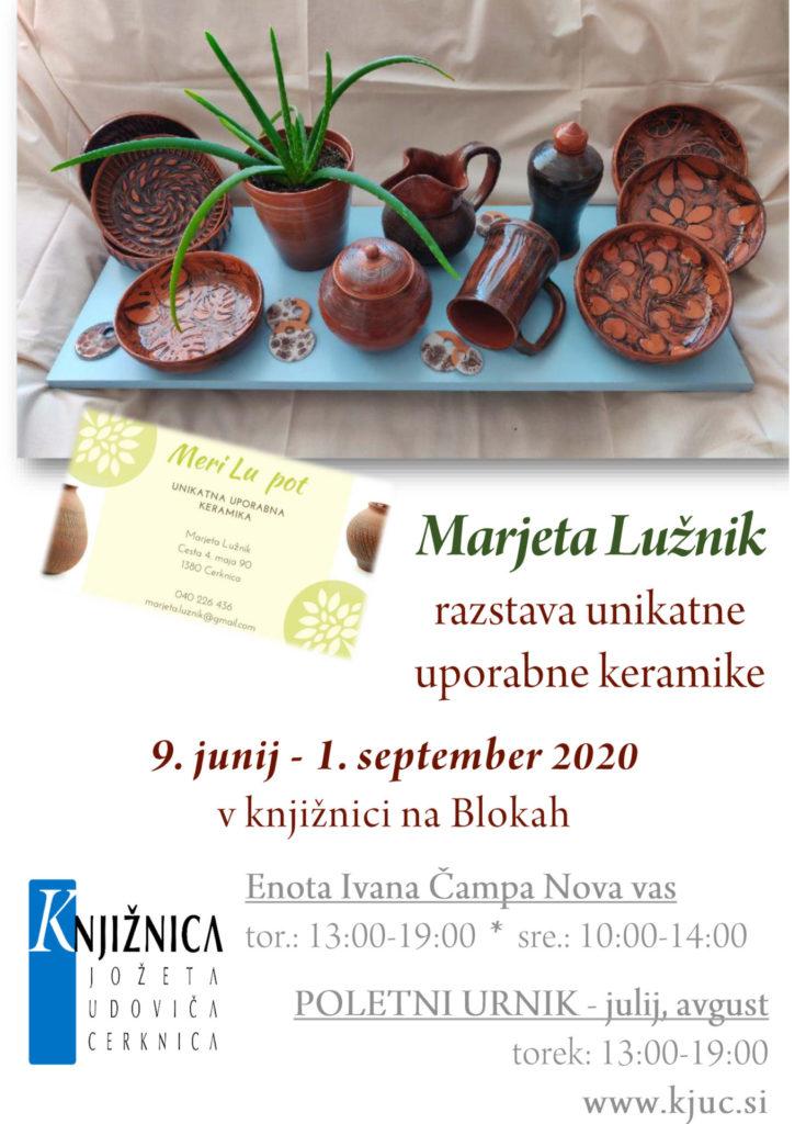 vabilo 735x1024 - Marjeta Lužnik - Meri Lu pot - razstava unikatne uporabne keramike