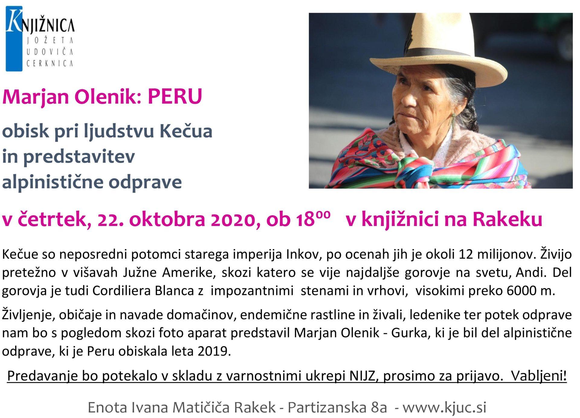 cover 1 - PRESTAVLJENO Potopisno predavanje - Marjan Olenik: Peru