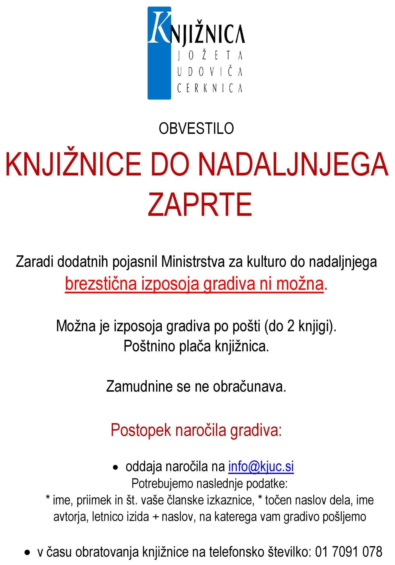 cover 8 - Začasno zaprtje Knjižnice Jožeta Udoviča Cerknica ob ponovni razglasitvi epidemije