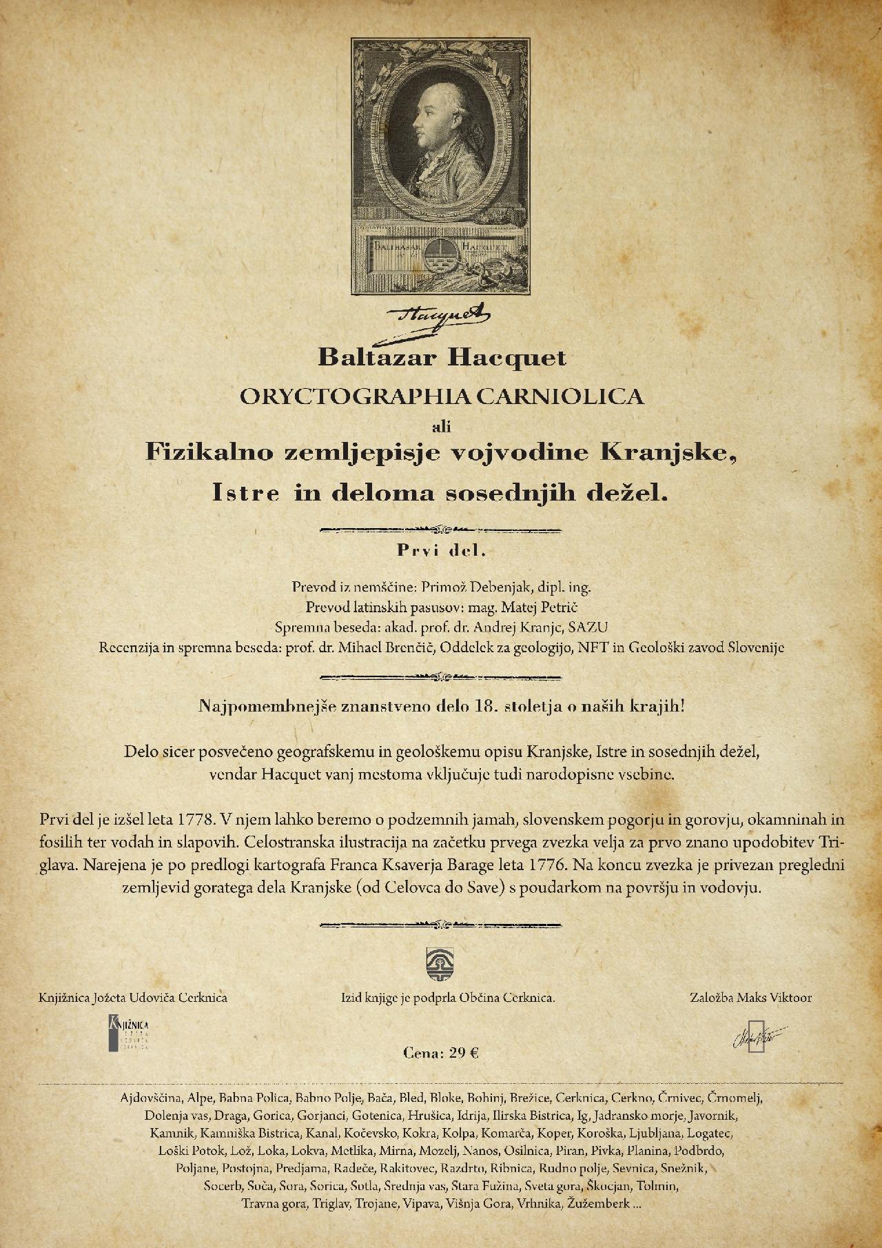 Baltazar Hacquet vel1 - Baltazar Hacquet - Oryctographia Carniolica / Oriktografija Kranjske