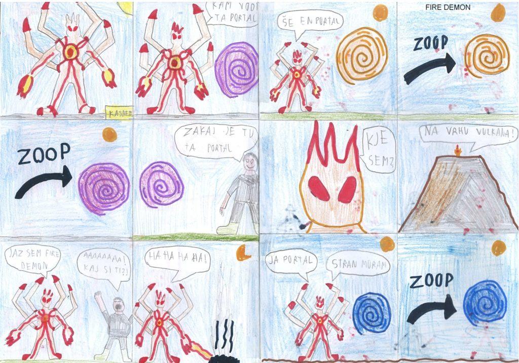 Jakob S. dve strani FIRE DEMON 1024x716 - Jakob Simšič - razstava avtorskih stripov