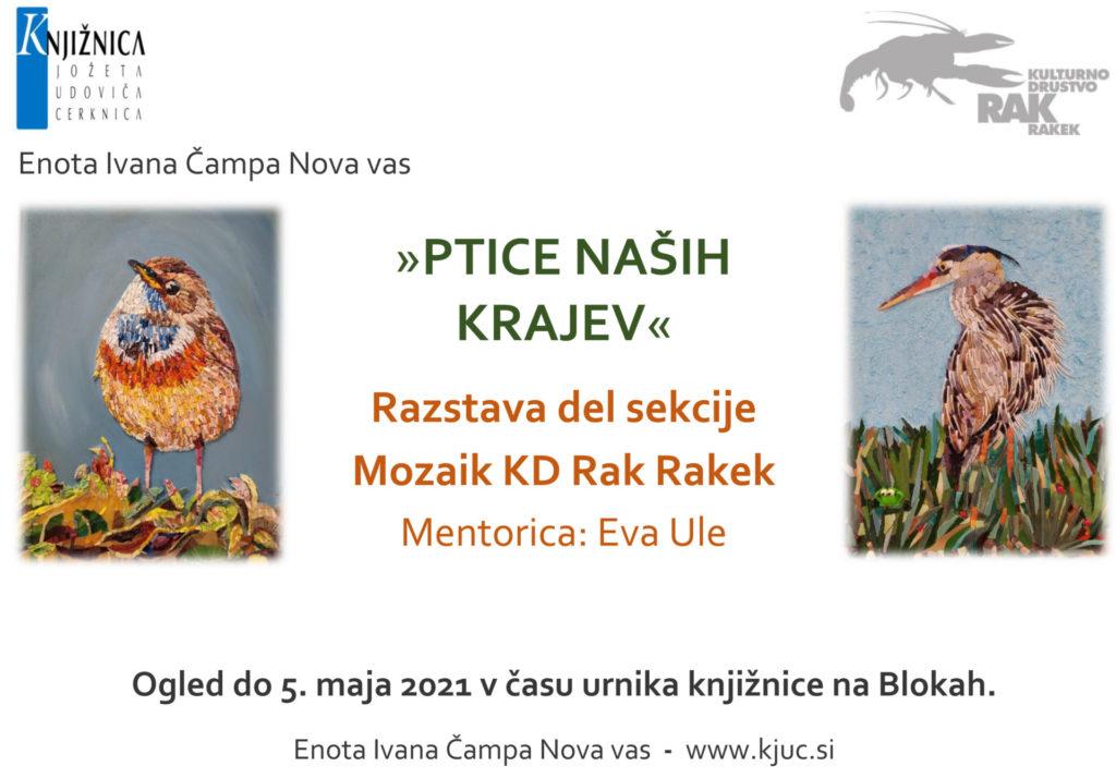 razstava mozaiki Nova vas 1024x714 - Ptice naših krajev - razstava del Sekcije Mozaiki KD Rak Rakek