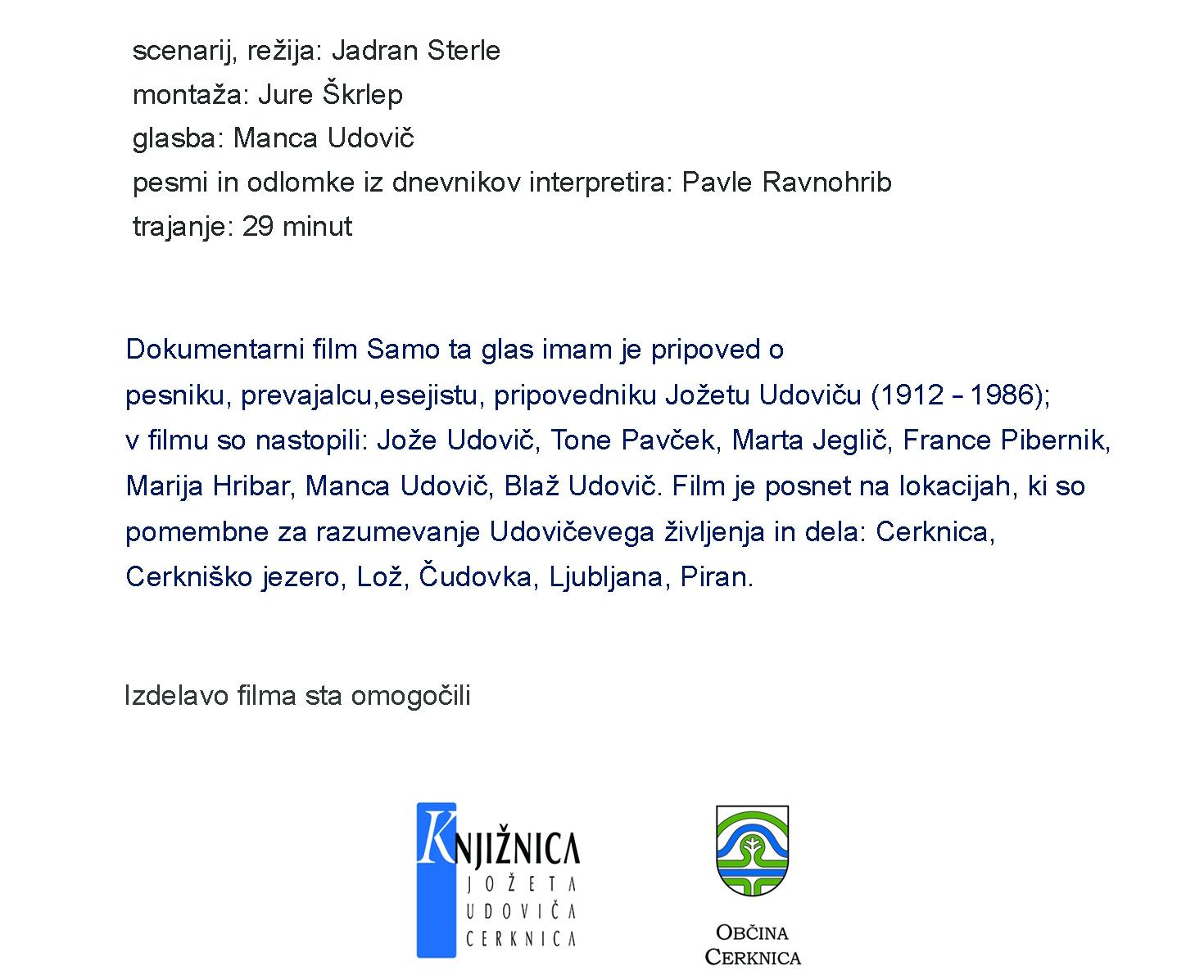 vabilo1 - Samo ta glas imam : Jože Udovič 1912-1986