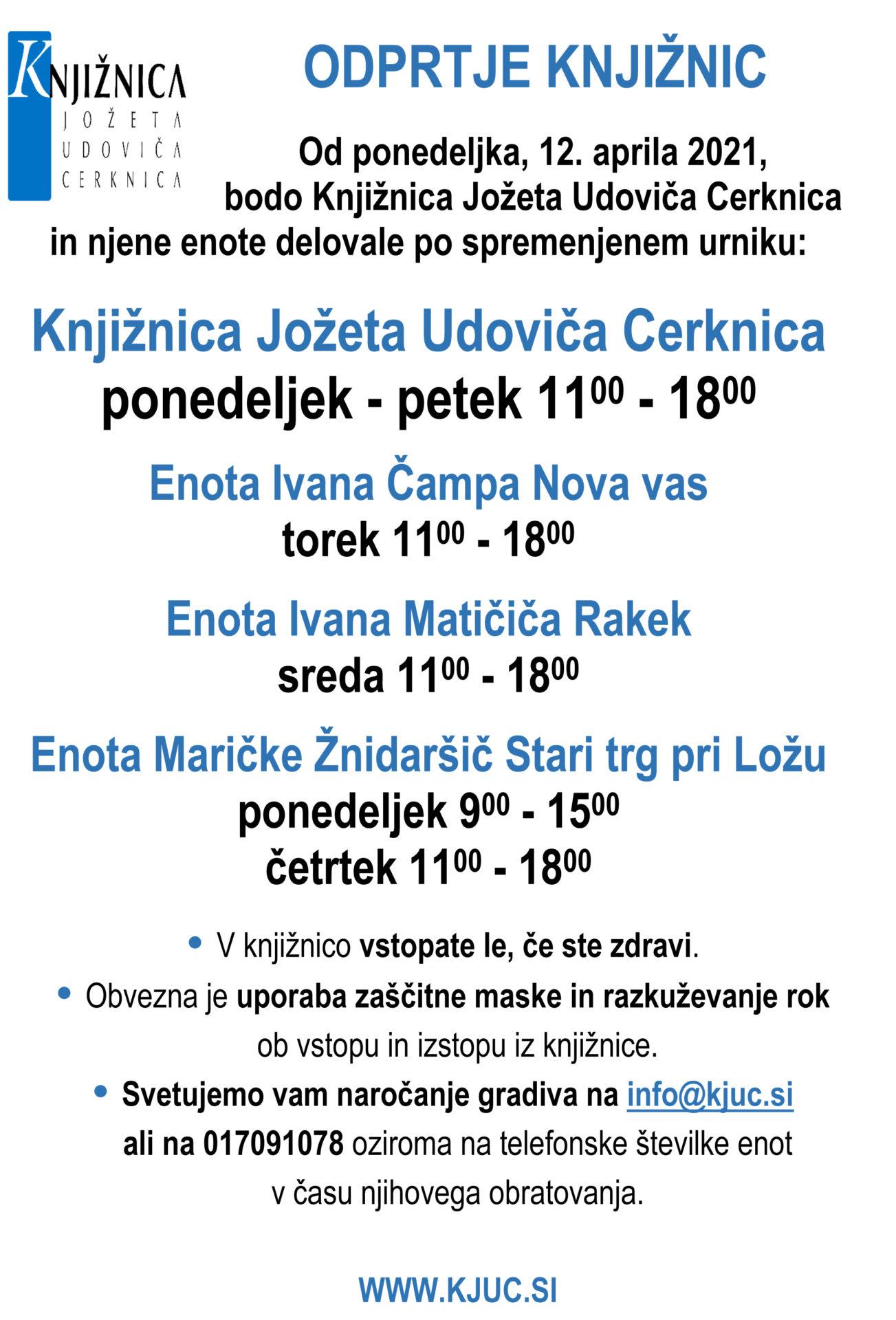 ODPRTJE KNJIZNIC - Odprtje knjižnic 12. aprila