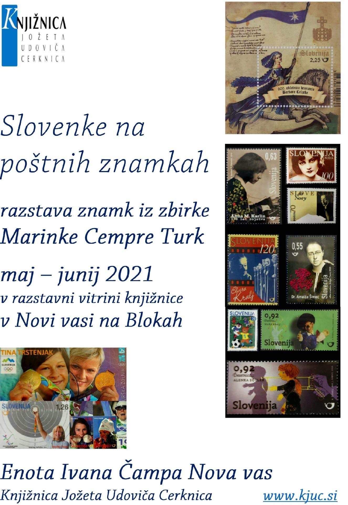 Vabilo MCR NV 2021 Slovenke www - Slovenke na poštnih znamkah - razstava znamk iz zbirke Marinke Cempre Turk