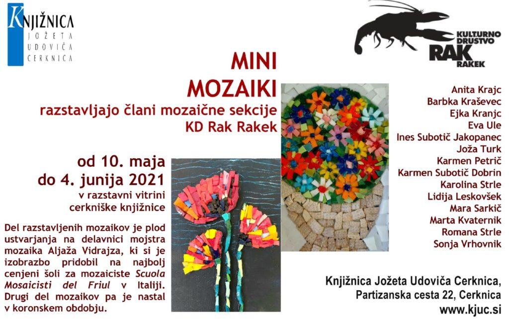 vabilo1 1024x659 - Mini mozaiki - razstavljajo člani mozaične sekcije  KD Rak Rakek