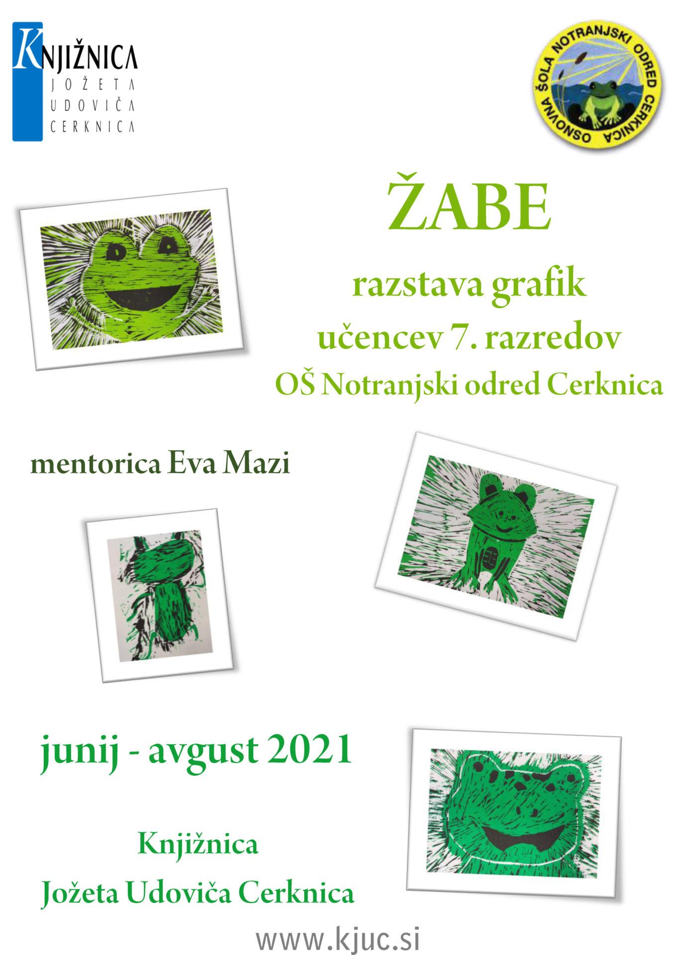 ZABE - Žabe - razstava grafik učencev 7. razredov OŠ Notranjski odred Cerknica