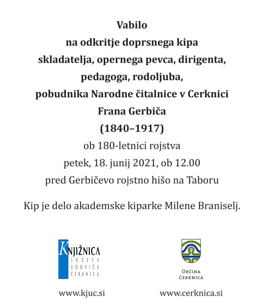 vabilo 1 875x1024 - Odkritje doprsnega kipa Frana Gerbiča