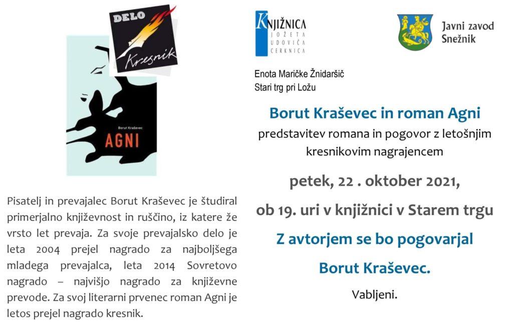 cover 5 1024x644 - Borut Kraševec: Agni  - predstavitev romana in pogovor z avtorjem