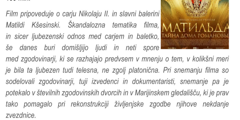 Matilda – zgodovinska melodrama – Cikel ruskega filma