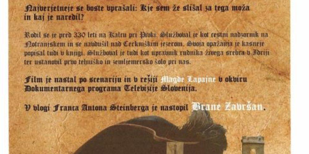 Predpremiera igrano-dokumentarnega filma Franc Anton pl. Steinberg – človek baročne popolnosti