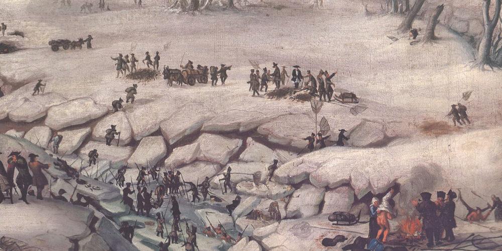 Miloš Toni:  Razrezi slike Ribolov na Cerkniškem jezeru z letnico 1714  Franca Antona Steinberga