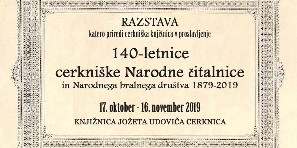 140-letnica cerkniške Narodne čitalnice in Narodnega bralnega društva 1879‒2019