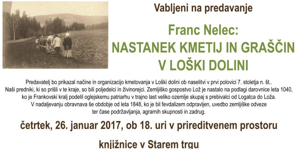 Franc Nelec: Nastanek kmetij in graščin v Loški dolini