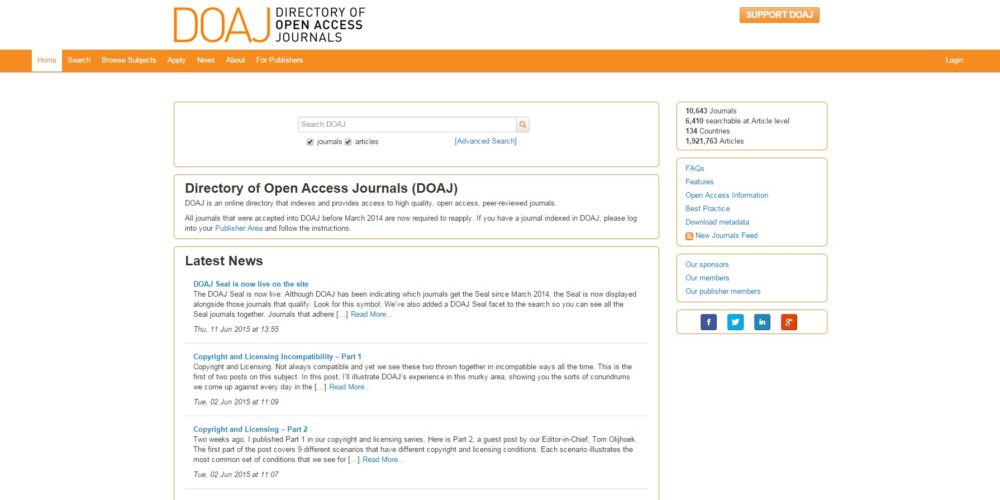 DOAJ – Directory of Open Access Journals