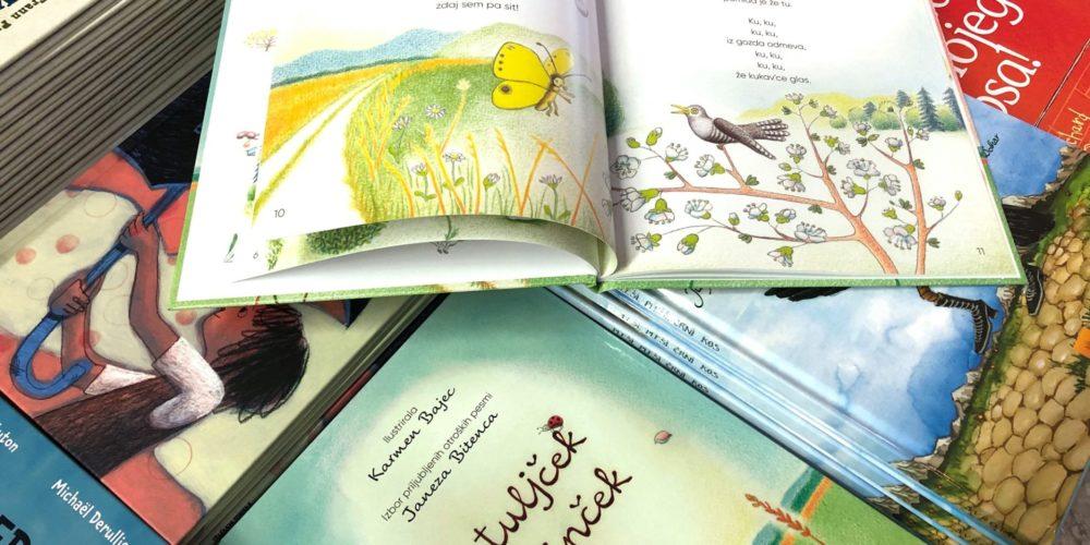 Metuljček cekinček – izbor priljubljenih otroških pesmi Janeza Bitenca z ilustracijami Karmen Bajec