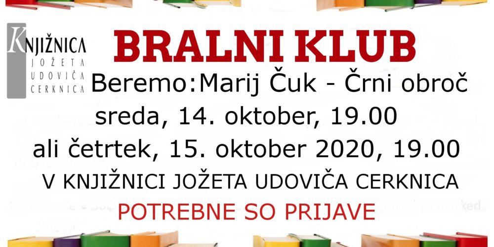 ODPOVEDANO Bralni klub: Marij Čuk – Črni obroč