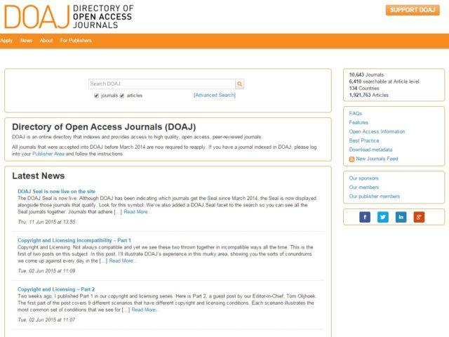 DOAJ – Directory of Open Access Journals