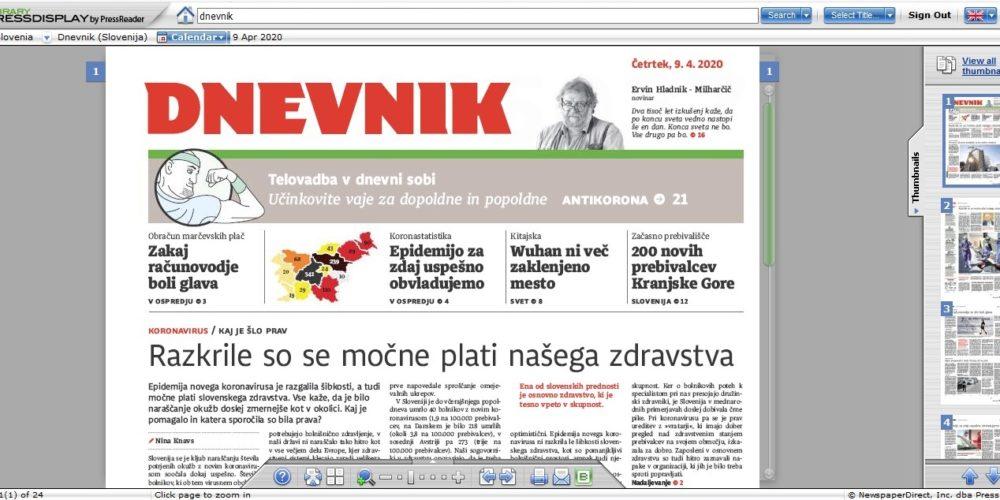 Najnovejši Dnevnik, Nedeljski Dnevnik in Večer preberite na spletu